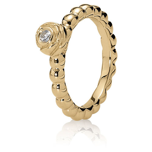 Pandora Jewelry St Louis: Retired PANDORA 14K Gold Bloom Ring With Diamond :: Ring