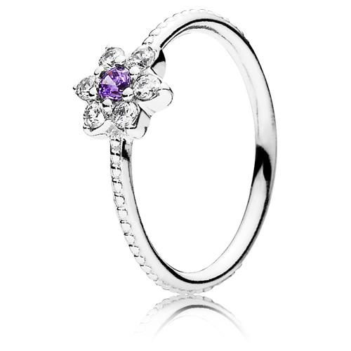 Pandora Jewelry Denmark: PANDORA Forget Me Not Flower Ring With Purple Zirconia