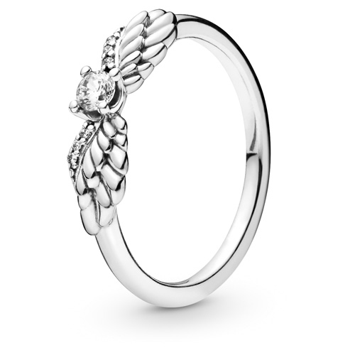 Sparkling Angel Wing Stackable Ring