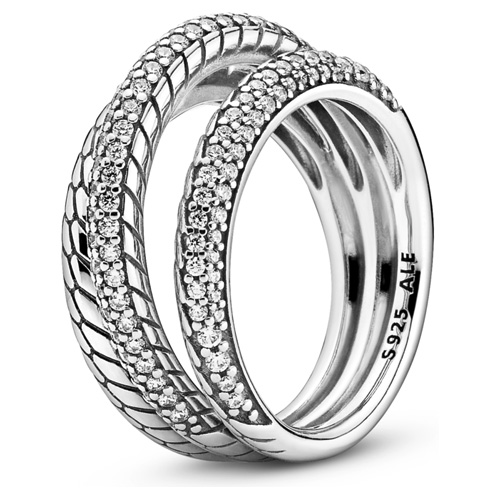 Triple Band Snake Chain Pattern Ring