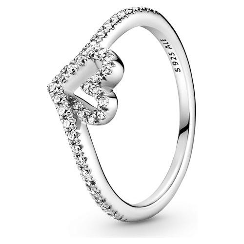 Sparkling Wishbone Heart Ring
