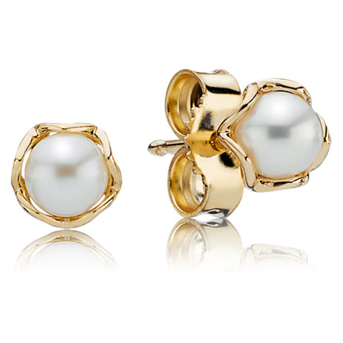 Pandora Jewelry St Louis: PANDORA 14K Gold Cultured Elegance Stud Earrings