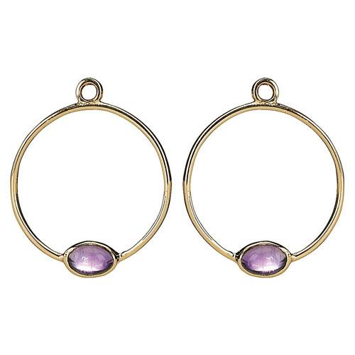 Pandora Compose Earrings: Retired PANDORA 14K Gold Amethyst Hoop Earring Charm