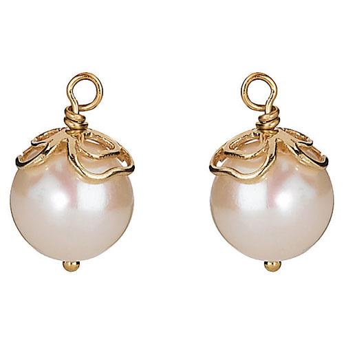 Pandora Compose Earrings: Retired PANDORA 14K Gold Trinity Pearl Earring Charm