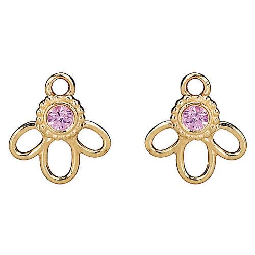 Pandora Compose Earrings: Retired PANDORA 14K Gold Pink Sapphire Blossom Earring