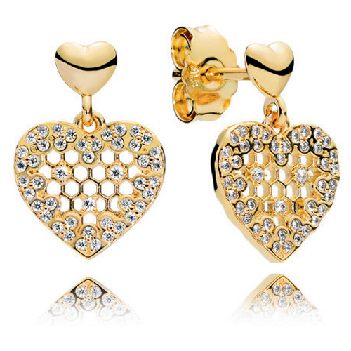 797806668 Pandora Shine™ Honeycomb Lace Heart Earrings. Click here to enlarge image