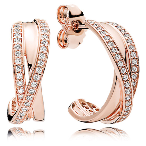 Retired Pandora Rose ™ Entwined Hoop Earrings :: Earring Stories 280730CZ :: Authorized Online ...