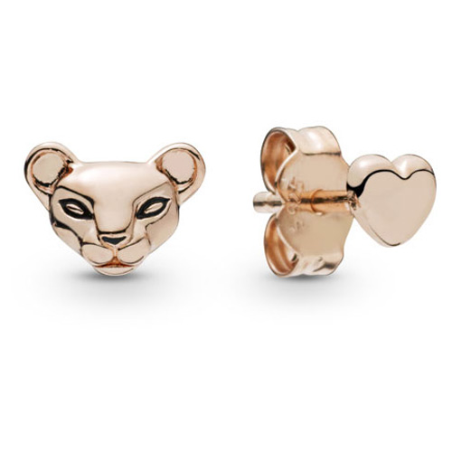 Pandora Rose ™  Lion Princess and Heart Stud Earrings