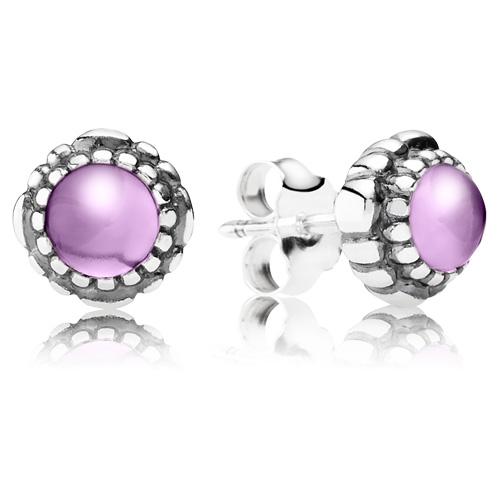 Pandora Jewelry Denmark: Retired PANDORA Amethyst Bloom Earring Studs :: Earring