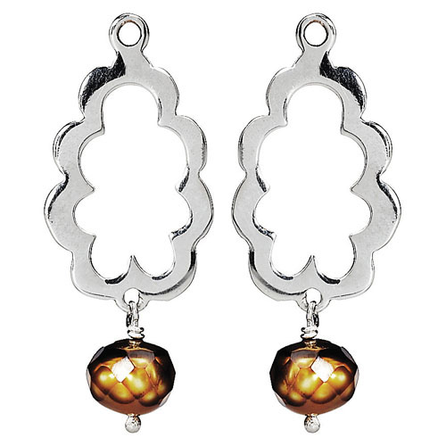 Pandora Compose Earrings: Retired PANDORA Faceted Pearl Scallop Earring Charm