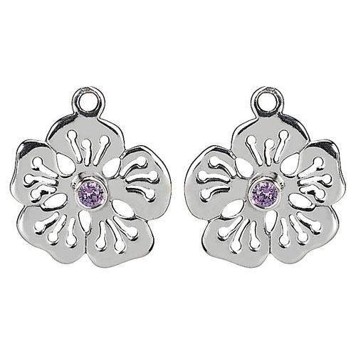 Pandora Compose Earrings: Retired PANDORA Hibiscus Earring Charm With Purple CZ