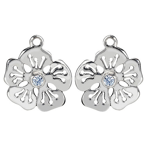 Pandora Compose Earrings: Retired PANDORA Hibiscus Earring Charm With Pale Blue CZ