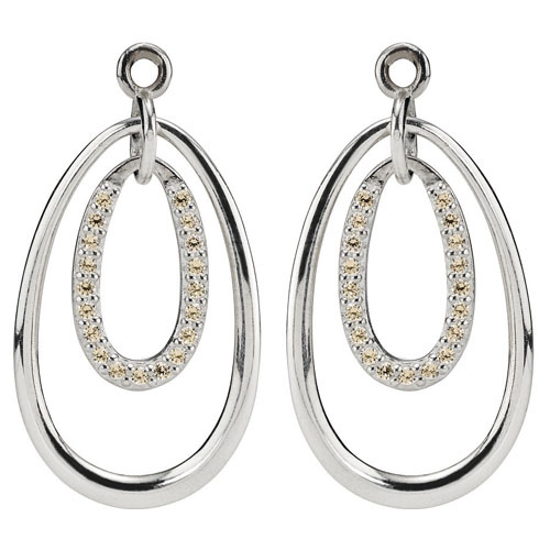 Pandora Compose Earrings: Retired PANDORA Double Drop Earring Charm With Champagne