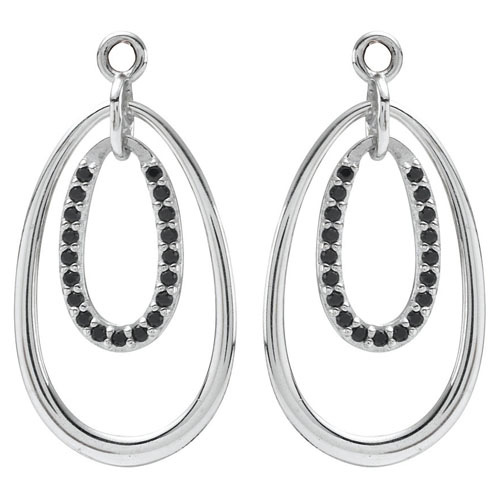 Pandora Drop Earrings: Retired PANDORA Double Drop Earring Charm With Black CZ