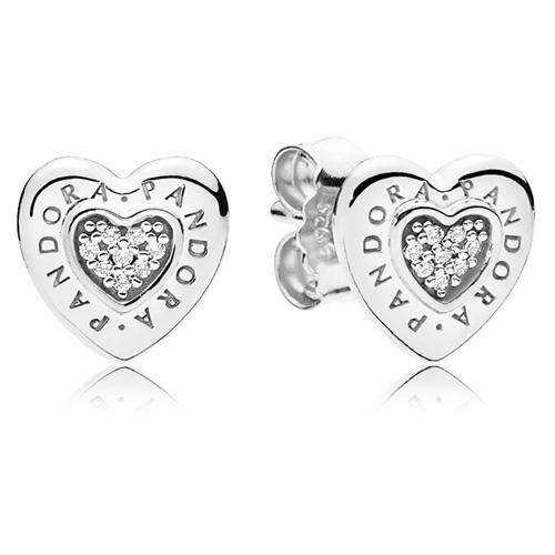 Pandora Signature Heart Stud Earrings