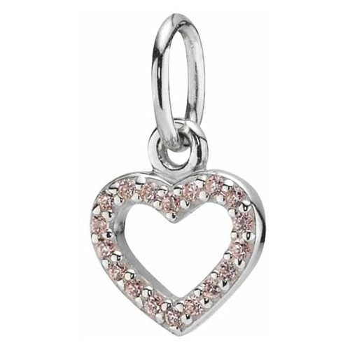 Pandora Jewelry Denmark: Retired PANDORA Silver Heart Pendant With Pink Zirconia