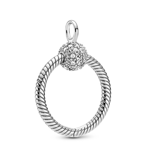 Silver Small O Charm Carrier with Clear Zirconia