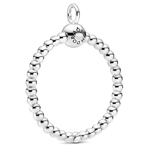 Silver Medium Beaded O Charm Carrier