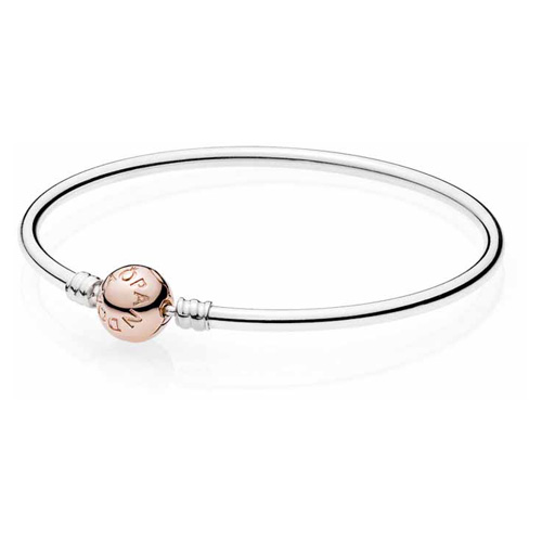 Sterling Bangle Bracelet with Pandora Rose ™ Clasp