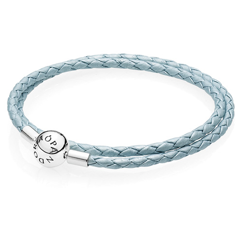 Pandora Jewelry Denmark: Retired PANDORA Light Blue Double Leather Bracelet