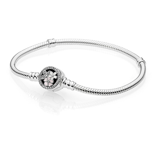 Pandora Silver Bracelet with Poetic Blooms Clasp
