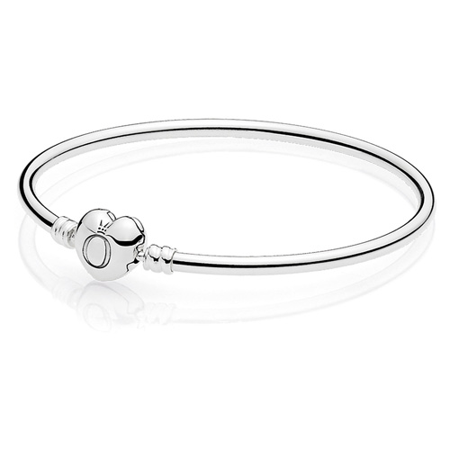 Bangle Bracelet with Heart Clasp