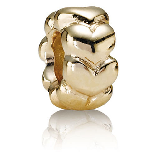 Retired Pandora 14k Gold Big Hearts Charm 14k Gold