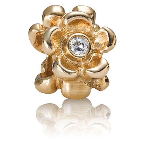 Retired Pandora 14k Gold Flower With Diamond Charm 14k