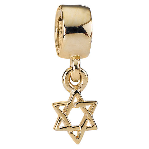 retired pandora 14k gold star of david charm 14k gold