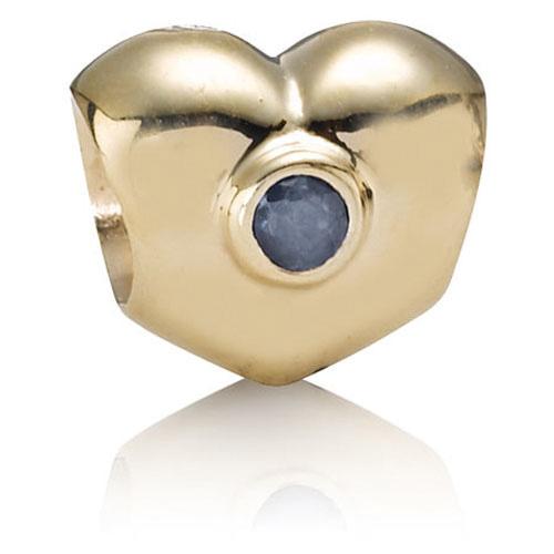 Pandora Jewelry Online Retailers: Retired PANDORA 14K Gold Heart With Sapphire Charm :: 14K