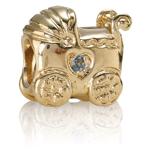 Retired Pandora 14k Gold Baby Carriage With Blue Topaz