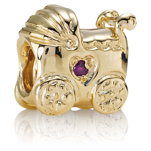 Retired Pandora 14k Gold Baby Carriage With Pink Sapphire
