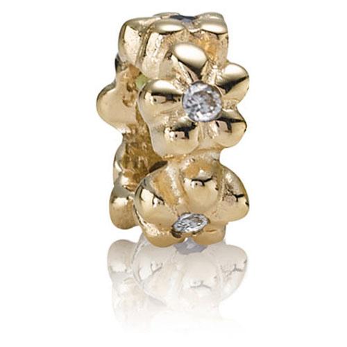Retired Pandora 14k Gold Flower Spacer With Diamonds