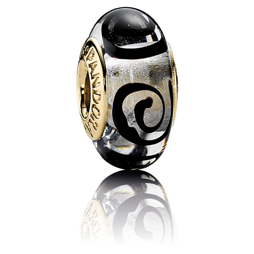Pandora Jewelry St Louis: Retired PANDORA 14K Gold Black Spirals Charm :: Murano