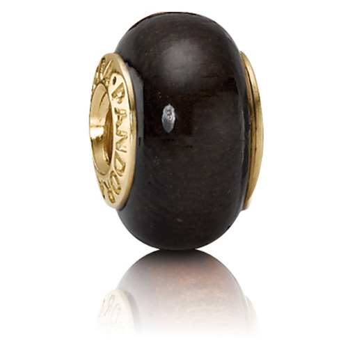 Pandora Jewelry St Louis: Retired PANDORA 14K Gold Coracao De Negro Wood Charm