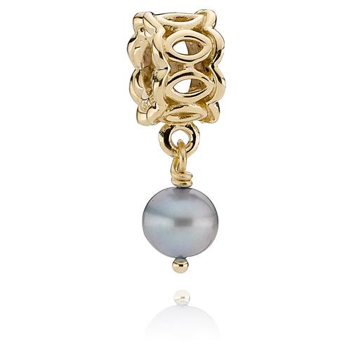 Retired Pandora 14k Gold Lace Charm Blue Pearl Dangle
