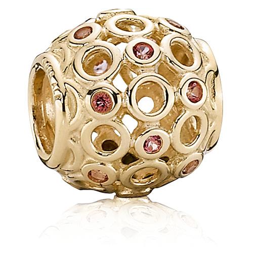 Pandora Jewelry Online Retailers: Retired PANDORA 14K Gold Celtic Circles With Pink Topaz