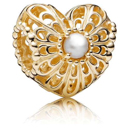 Pandora Jewelry Online Retailers: Retired PANDORA 14K Gold Vintage Heart Charm :: 14K Gold