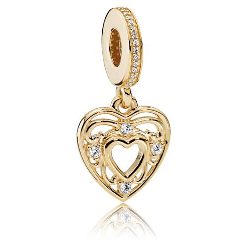 Pandora Jewelry Llc: PANDORA 14K Gold Romantic Heart Dangle :: 14K Gold Charms