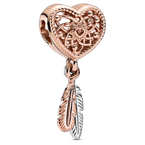 Heart and Two Feathers Dreamcatcher Charm