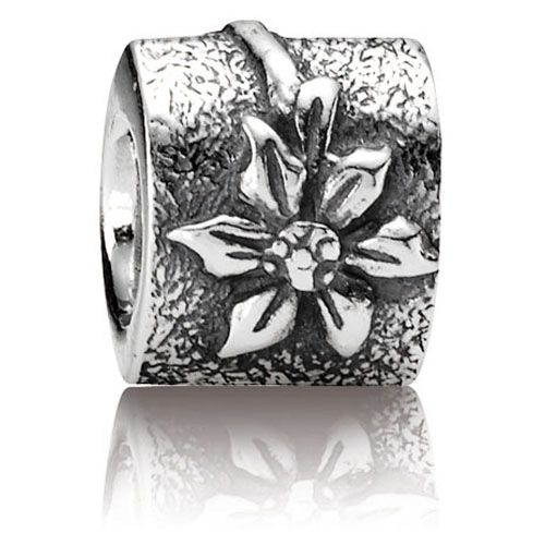 Retired Pandora Poinsettia Charm Sterling Silver Charms