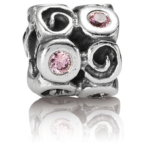 Pandora Jewelry St Louis: Retired PANDORA Swirlies With Pink CZ Charm :: Gems With