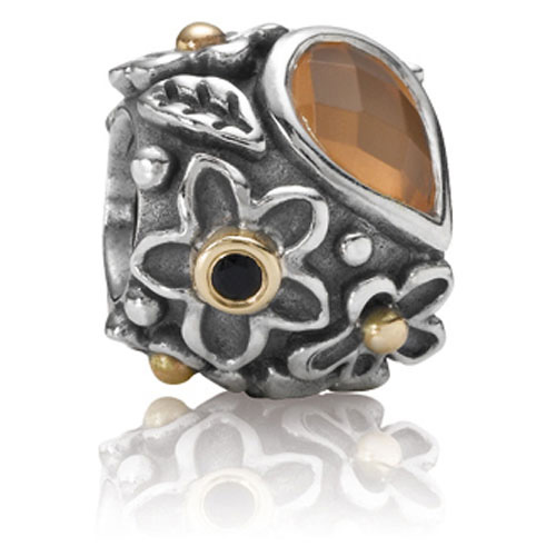 1e1f7fc9b Dew Drops on Flowers with Orange Moonstone Charm. Click here to enlarge  image