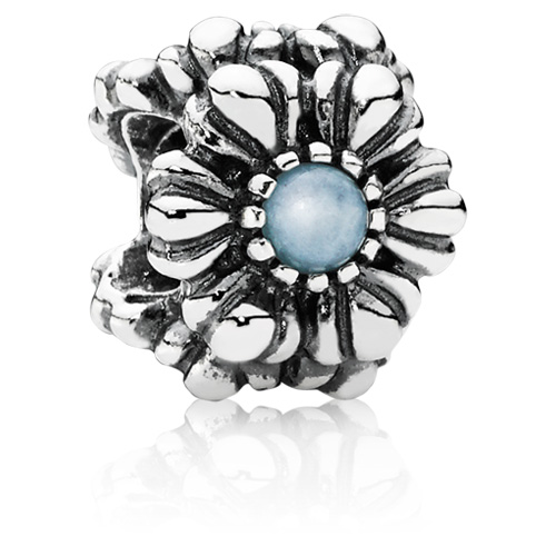 Retired Pandora March Birthday Blooms Charm Aquamarine