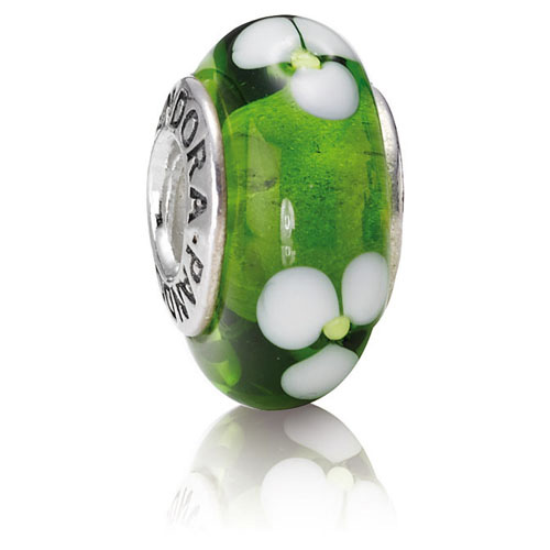 Retired Pandora Green Flowers Charm Murano Glass Charms
