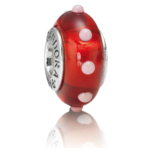 Retired Pandora Seeing Spots Red And White Charm Murano