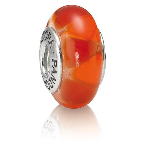 Retired Pandora Captivating Red Hot Charm Murano Glass