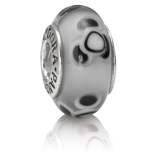 Pandora Jewelry St Louis: Retired PANDORA Flowers For You Grey Charm :: Murano Glass