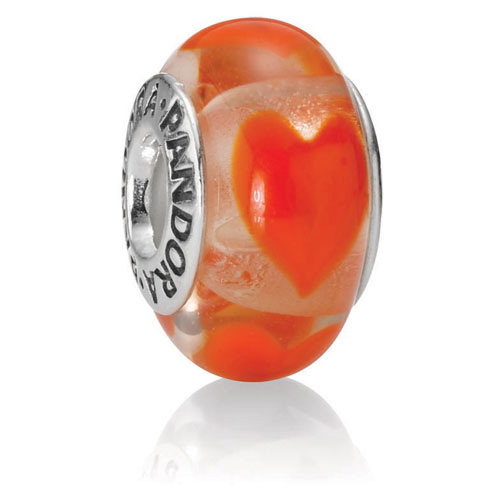 Retired Pandora Clear With Orange Hearts Charm Murano