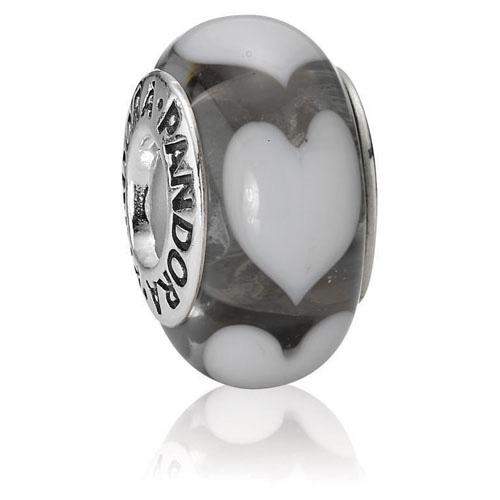 Pandora Jewelry Online Retailers: Retired Pandora Clear With White Hearts Charm :: Murano